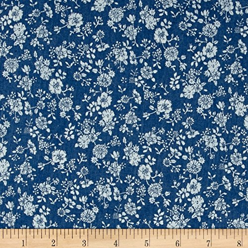 TELIO Denim Floral Print Light Blue Fabric by The Yard, Light Blue/White