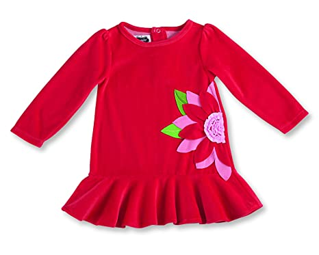 a52ed205d77f Mud Pie Christmas Baby Toddler Girl Red Poinsettia Flounce Dress (0-6  Months)