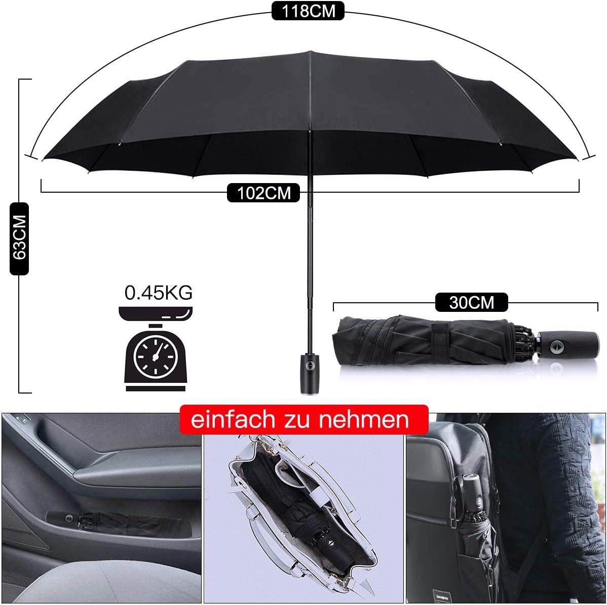 Borsa portaombrello e custodia da viaggio rivestimento in teflon apertura//chiusura automatica Ombrello tascabile ombrello ombrello rovesciato incl antivento antipioggia fino a 140 km//h