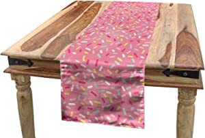 "Ambesonne Pink and White Table Runner, Abstract Pattern of Colorful Donut Sprinkles Tasty Food Bakery Theme, Dining Room Kitchen Rectangular Runner, 16"" X 72"", Pink Yellow"