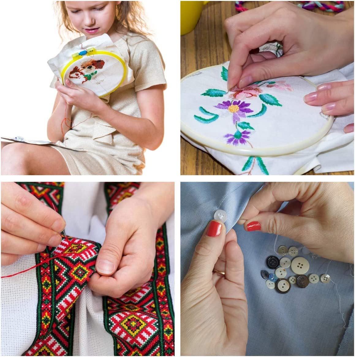 3 PCS Aida Cloth 40 Sewing Pins 5 PCS Bamboo Embroidery Hoops MAKEASY 205 PCS Embroidery Starter Kit with Instructions 100 Colors Threads Cross Stitch Tools for Adults and Kids Beginners