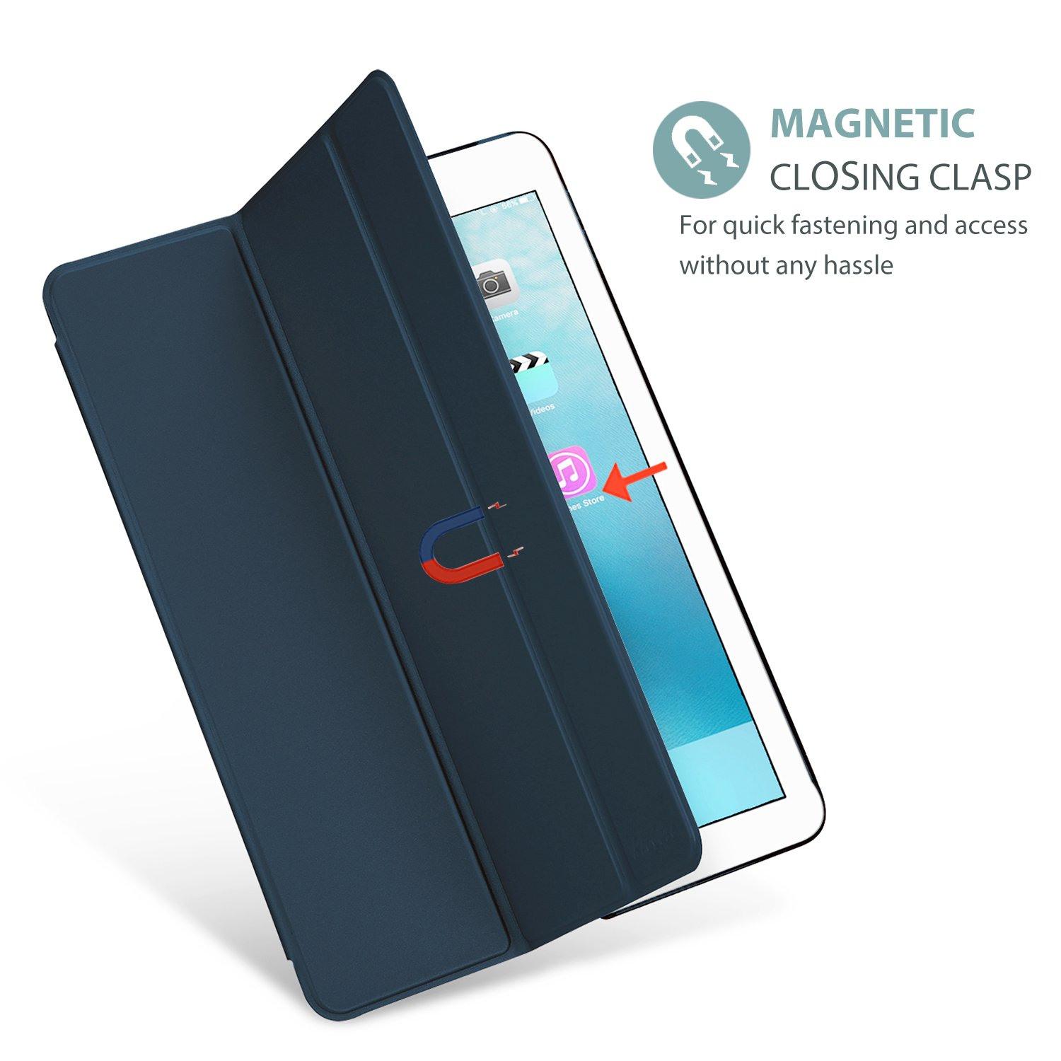 ProCase iPad 9.7 Case 2018 iPad 6th Generation Case / 2017 iPad 5th Generation Case - Ultra Slim Lightweight Stand Case with Translucent Frosted Back Smart Cover for Apple iPad 9.7 Inch -Navy Blue by ProCase (Image #7)