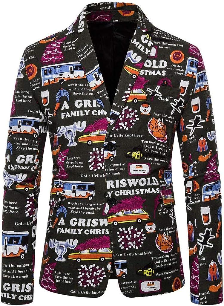 Kstare Mens Winter Xmas Business Blazer Party Funny Costume Novelty Jacket Coat Tops Christmas Suit for Men