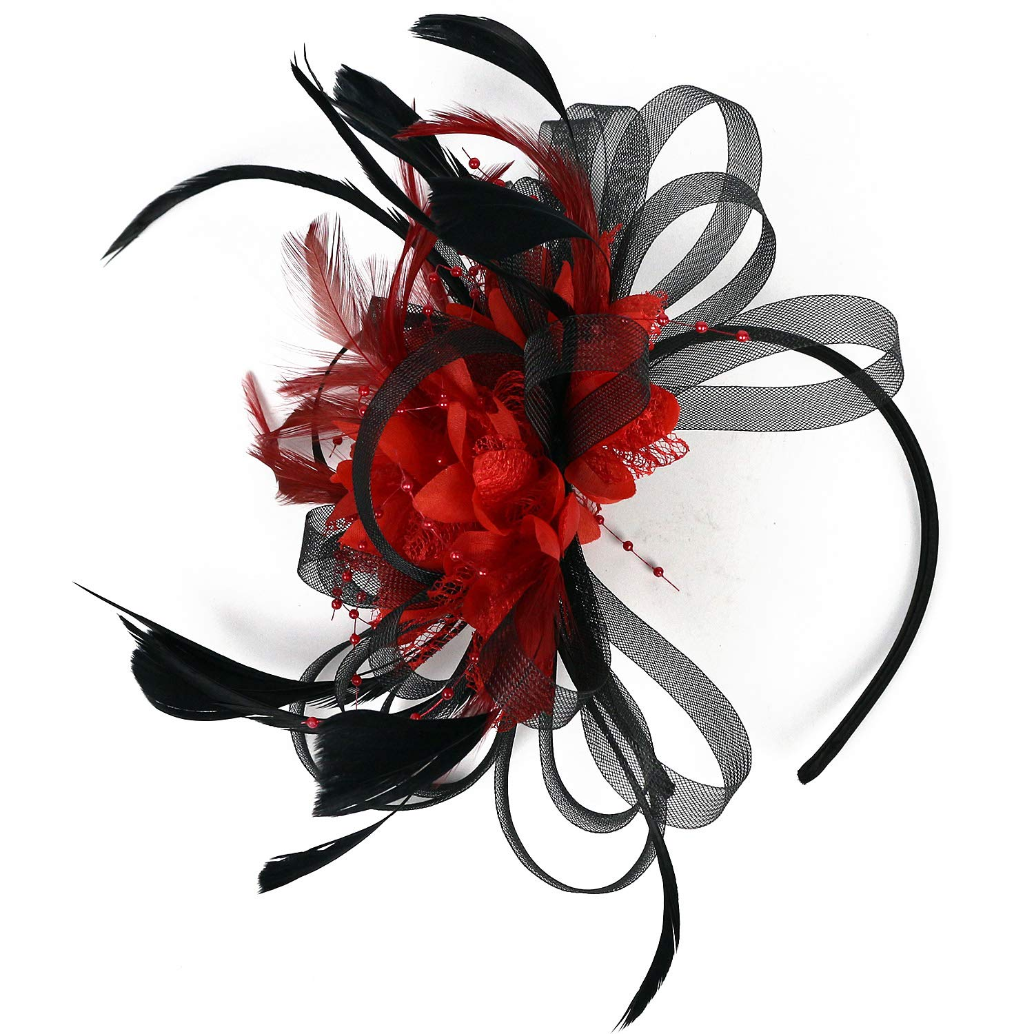 2 Tone Kentucky Derby Fascinators Sinamay Church Tea Party Bridal Hat Mesh Cocktail Headwear Feather Hats Black_Red