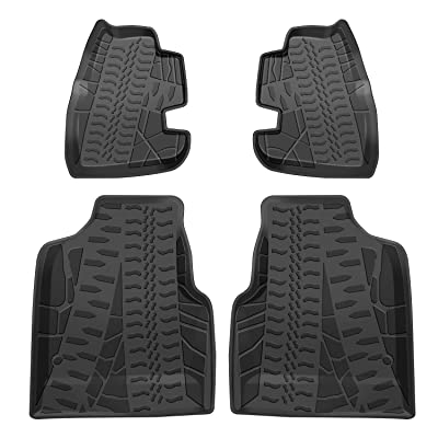 IBACP Front & Rear Black Rubber Carpets Floor Mats Waterproof Floor Liner Kit for 1997-2006 Jeep Wrangler TJ - 4Pcs: Automotive