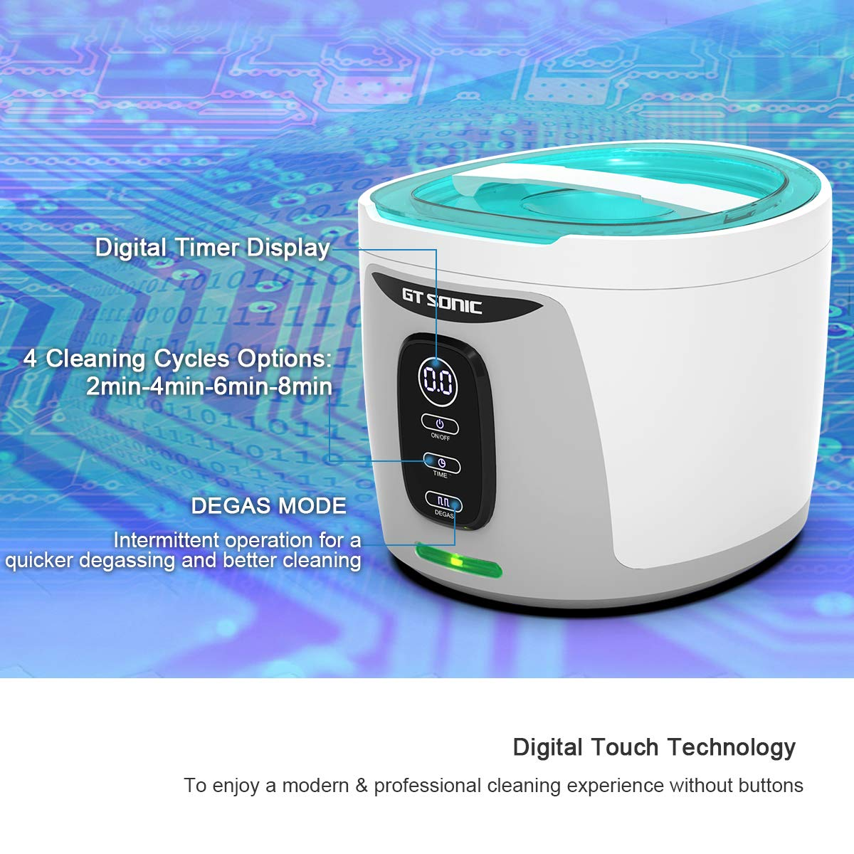 GTSONIC Ultrasonic Cleaner Jewelry Glasses Dentures Professional Detachable Cleaning Machine, 4 Timer Cycles Auto-Off, 26 OZ, 35 W by GTSONIC (Image #4)