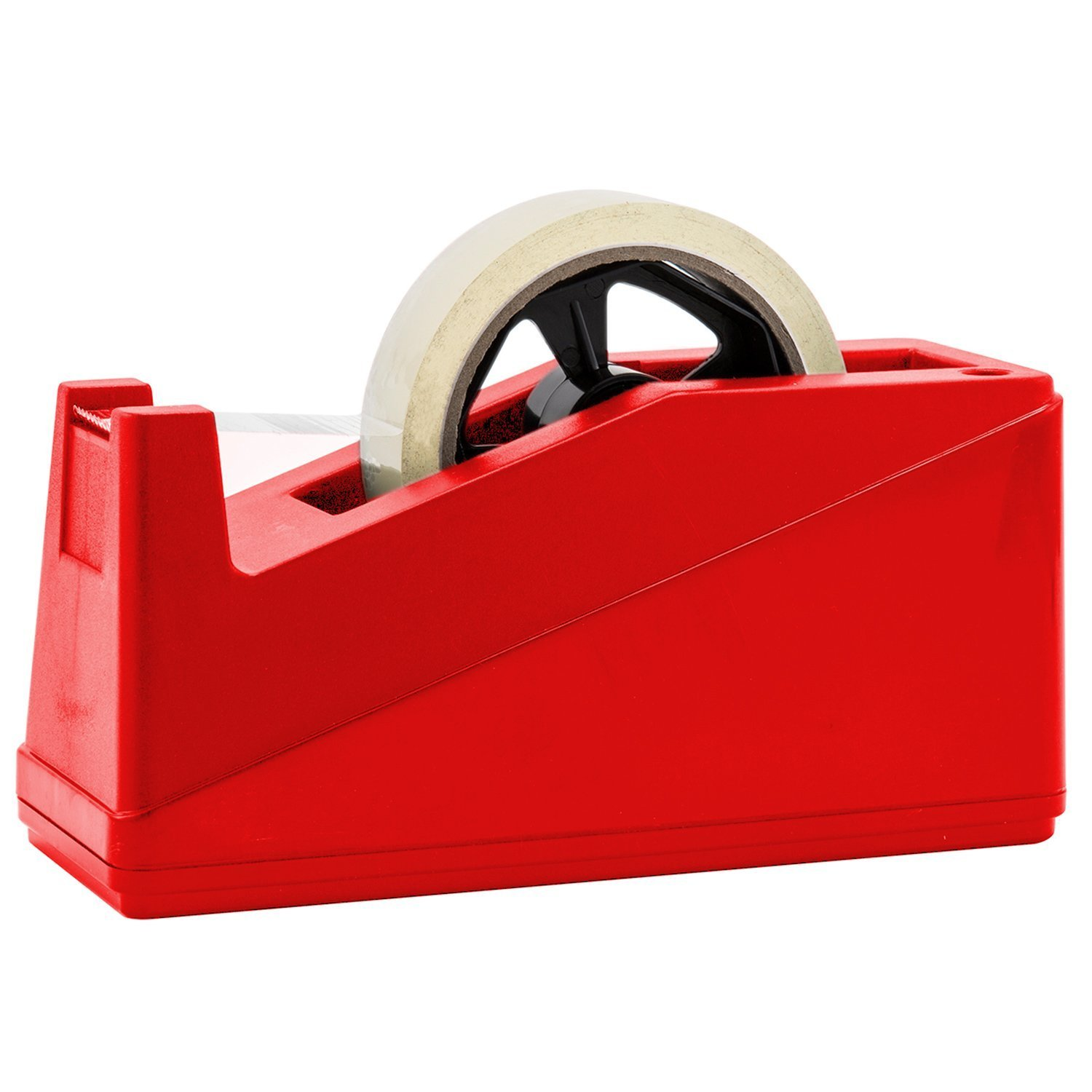 "Desktop Tape Dispenser Adhesive Roll Holder (Fits 1"" & 3"" Core) Heavy Duty Premium by Royal Imports with Weighted Nonskid Base, Red"