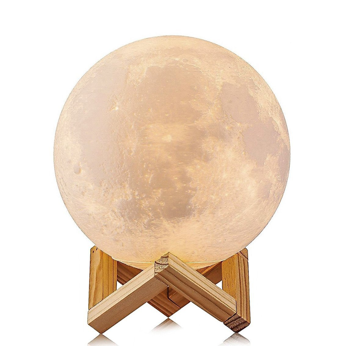 Moon Light Table Lamp 3D Printing Moon Lamp, 4.9 Inch Super Bright LED Home Decor, USB Recharge- Touch Control Brightness & 2 Colors Switch for Kids Birthday Gifts - 13 cm