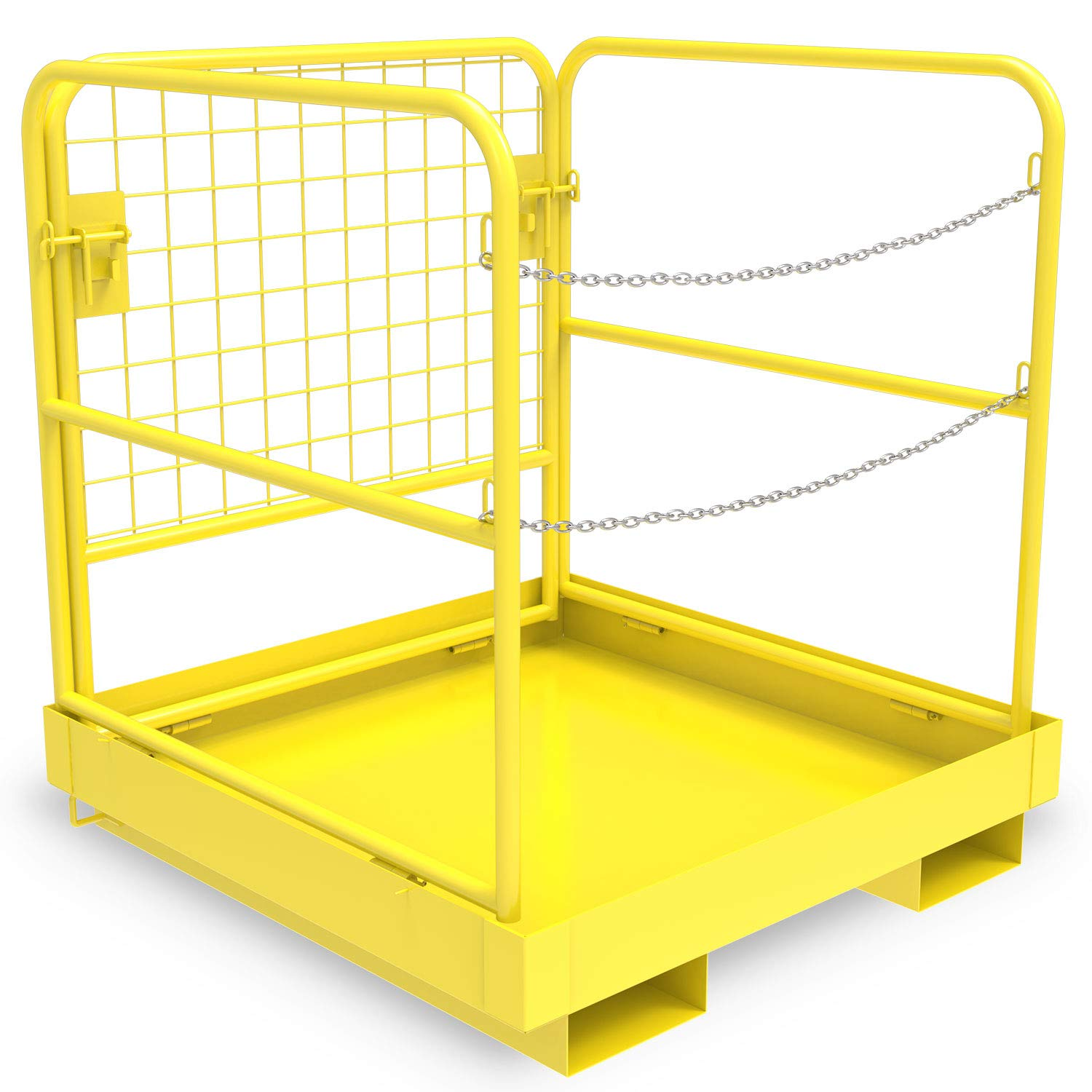 YINTATECH Forklift Work Platform Safety Cage Collapsible Heavy Duty Steel Construction Lift Basket Aerial Rails 36x36 inches 1105lbs Capacity