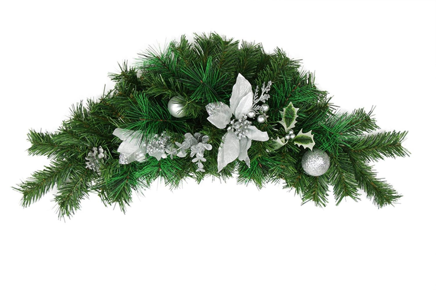 Northlight 30'' Pre-Decorated Silver Poinsettia, Pine Cone and Ball Artificial Christmas Swag - Unlit