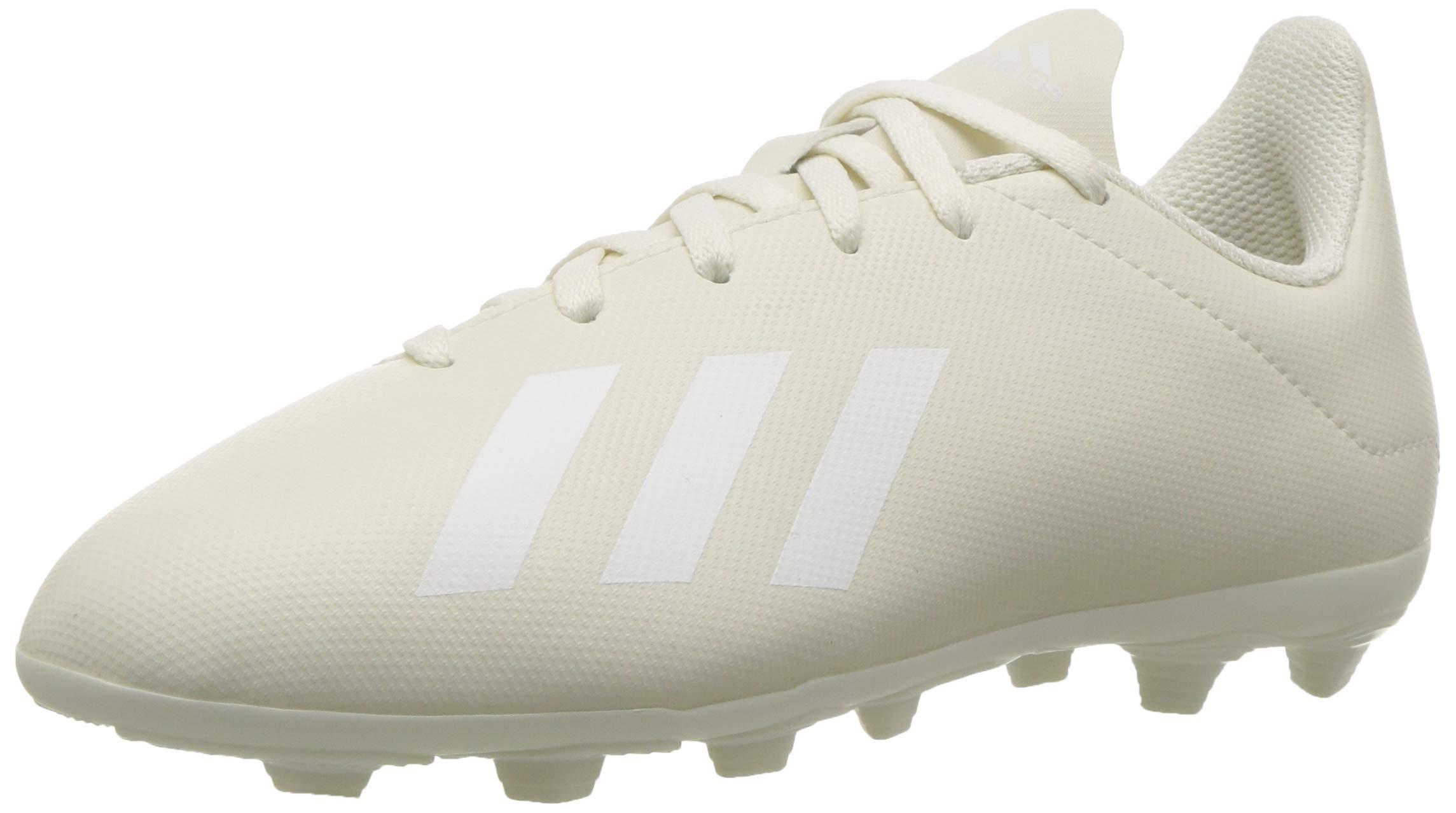 adidas Unisex X 18.4 Firm Ground Soccer Shoe, White/Gold Metallic, 2 M US Little Kid
