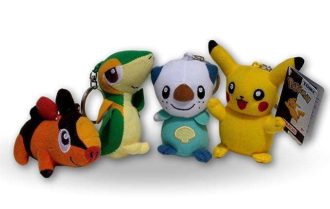 Pokemon Pack 4x Peluches 9cm con Llavero Pikachu, Tepig ...