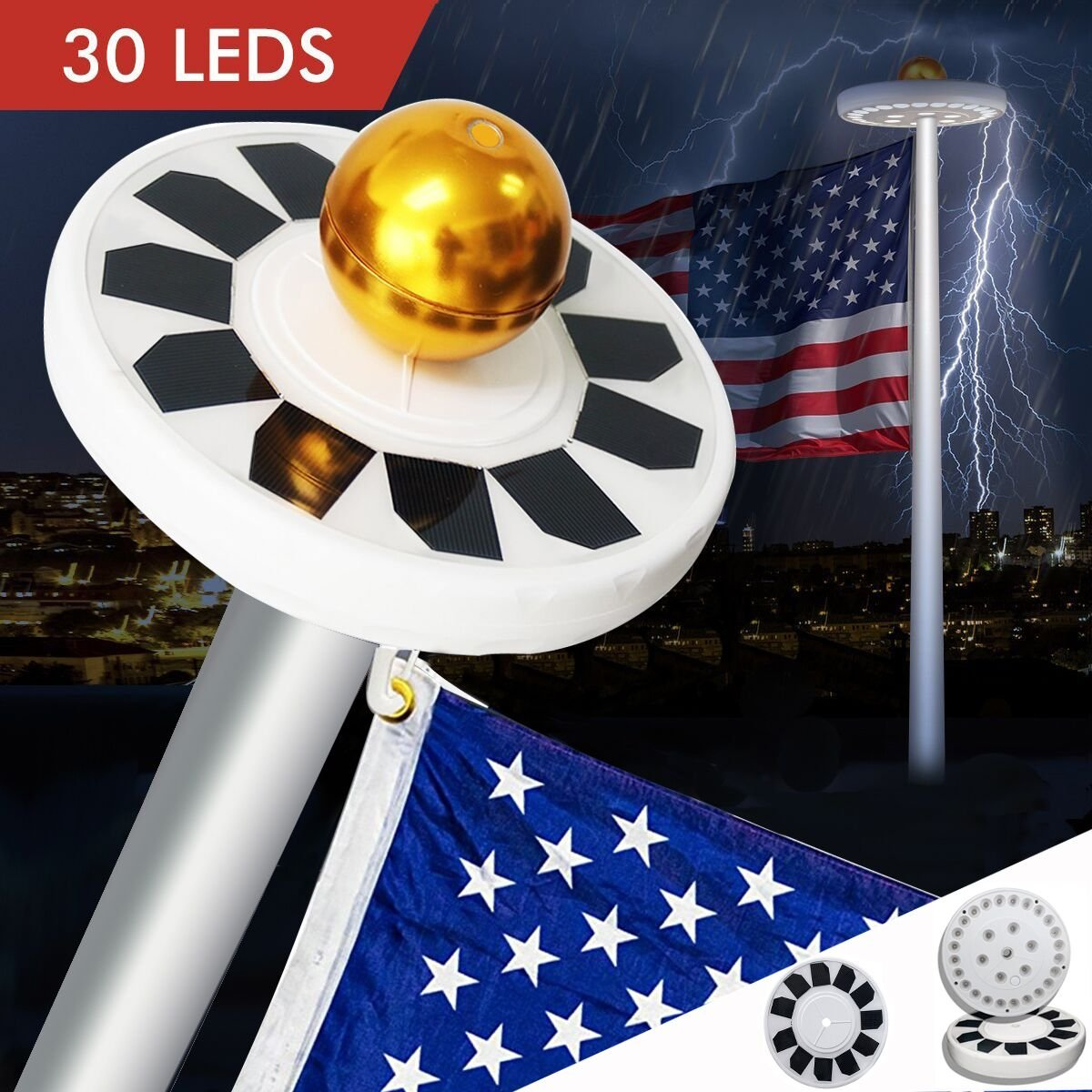 Mekar 30 LED Solar Flag Pole Lights Flagpole Downlight Long Lasting Lighting Night light for 15 to 25 Ft Flag Pole by Mekar (Image #1)