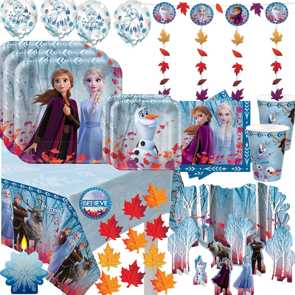 Mega Frozen 2 Birthday Party Supplies and Decoration Pack For 16 With Frozen 2 Dinner and Dessert Plates, Napkins, Cups, Tablecover, String Deco, Table Decoration Kit, Candle, Leaves, and Frozen Pin by Another Dream