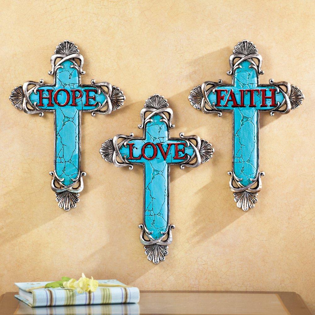 Amazon.com: Inspirational Religious Hope Love Faith Turquoise Wall ...