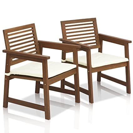 Attractive FURINNO Tioman Teak Hardwood Outdoor Armchair With Cushion (Set Of 2)