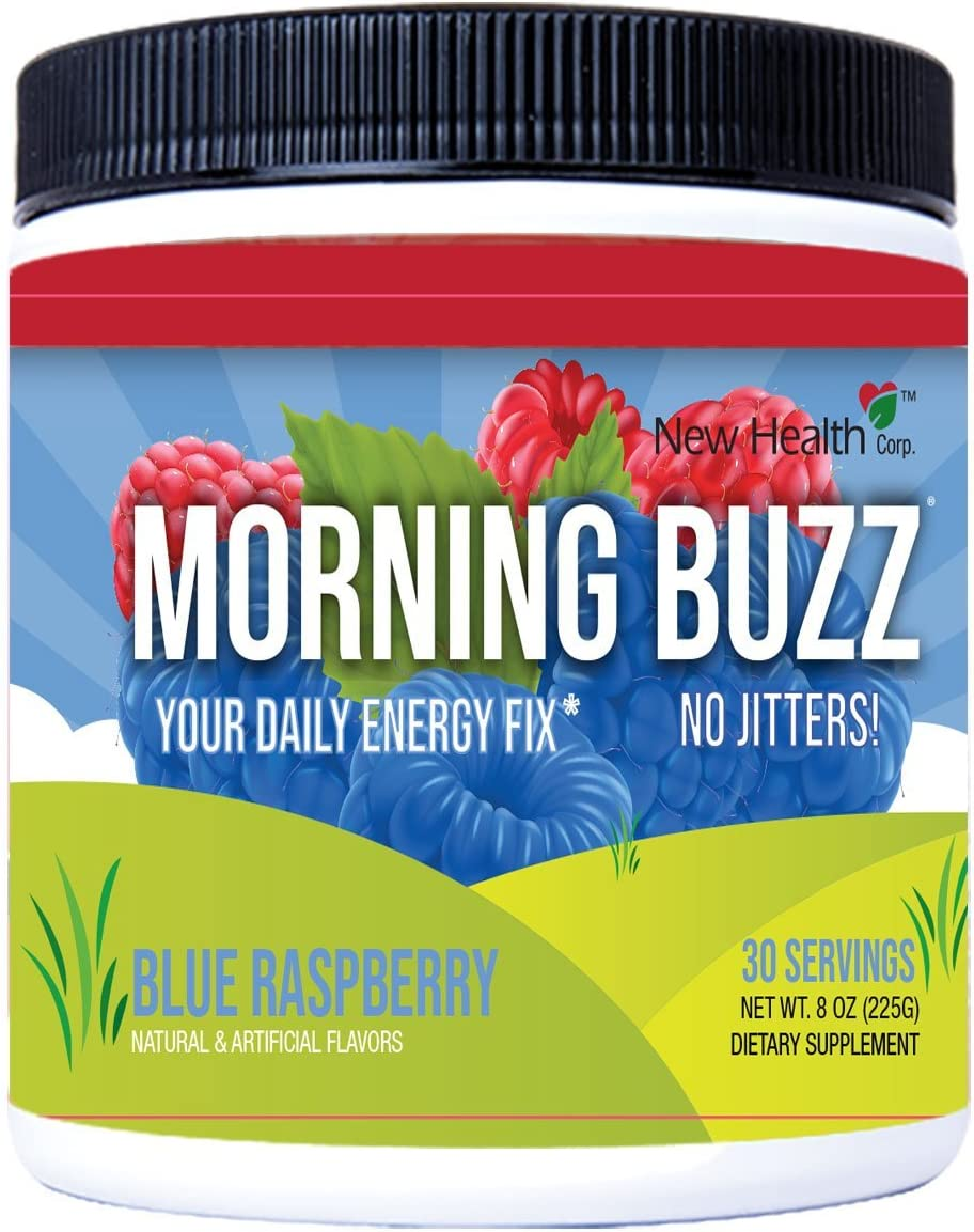 Morning Buzz Sports Energy Drink Mix by New Health, Pre Workout, Sports Nutrition Drink, Supports Lasting Energy, Endurance, Mental Clarity, and Metabolism, 8 Ounce Powder, 30 Servings(Blue Raspberry): Health & Personal Care