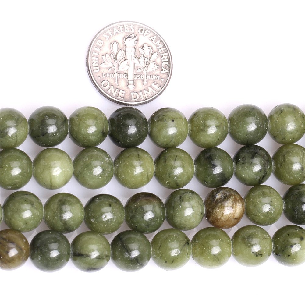 SHGbeads Green Canada Jade Gemstone Loose Beads Natural 10mm Crystal Energy Stone Healing Power for Jewelry Making 15