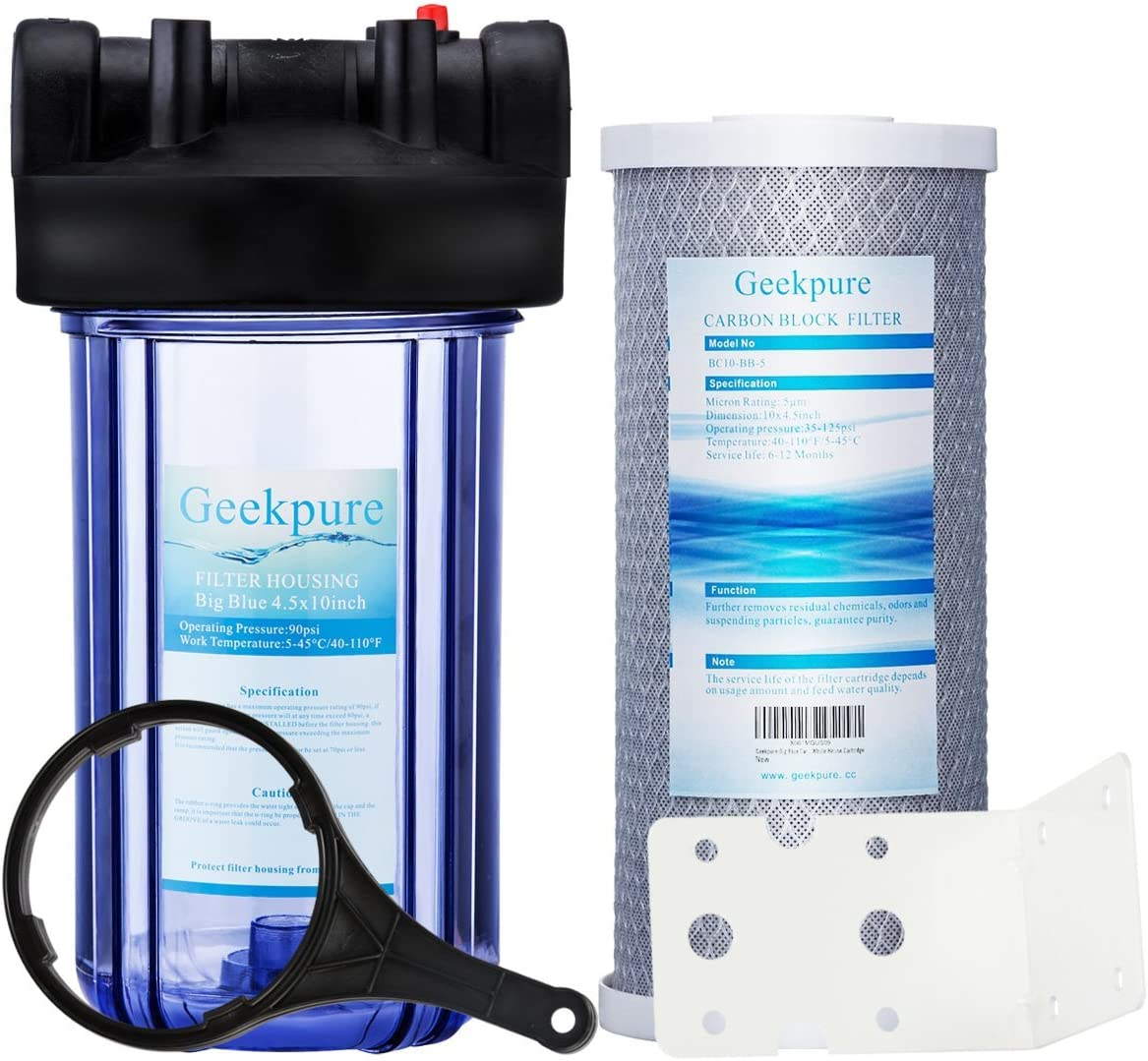"""Geekpure Single Stage Whole House Water Filtration System w/ 10-Inch Big Clear Housing-1""""NPT Inlet/Outlet with 4.5""""x 10"""" 5 MicronCarbon Block Filter"""
