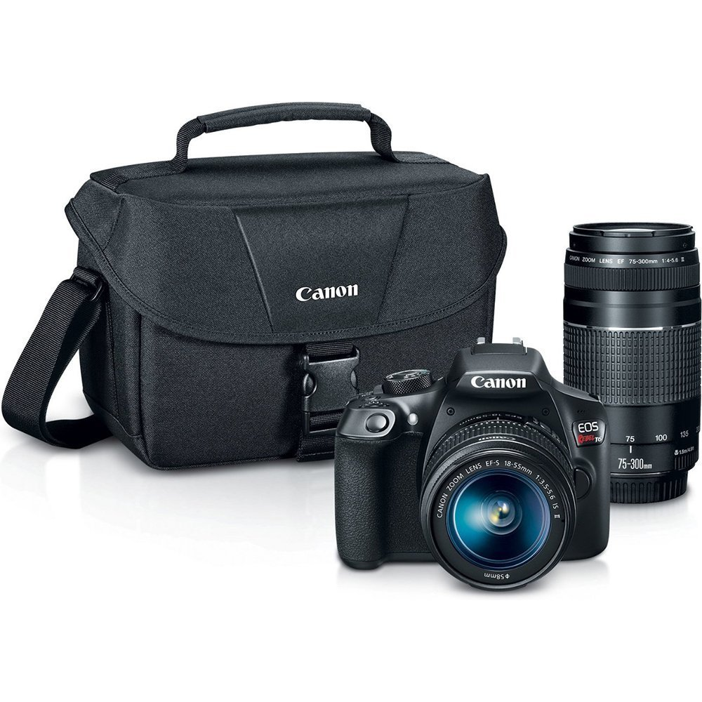 Canon EOS Rebel T6 Digital SLR Camera Kit with EF-S 18-55mm and EF 75-300mm Zoom Lenses (Black) by Canon