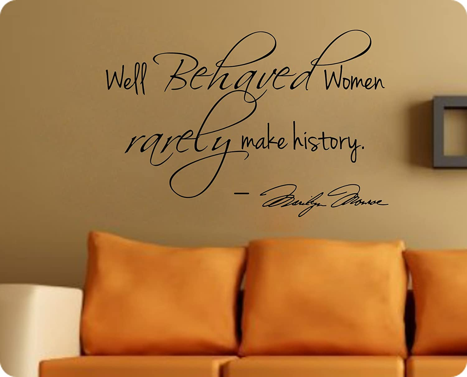Marilyn Monroe Wall Decal Decor Quote Well Behaved Women...Large Nice    Wall Decals For Women   Amazon.com