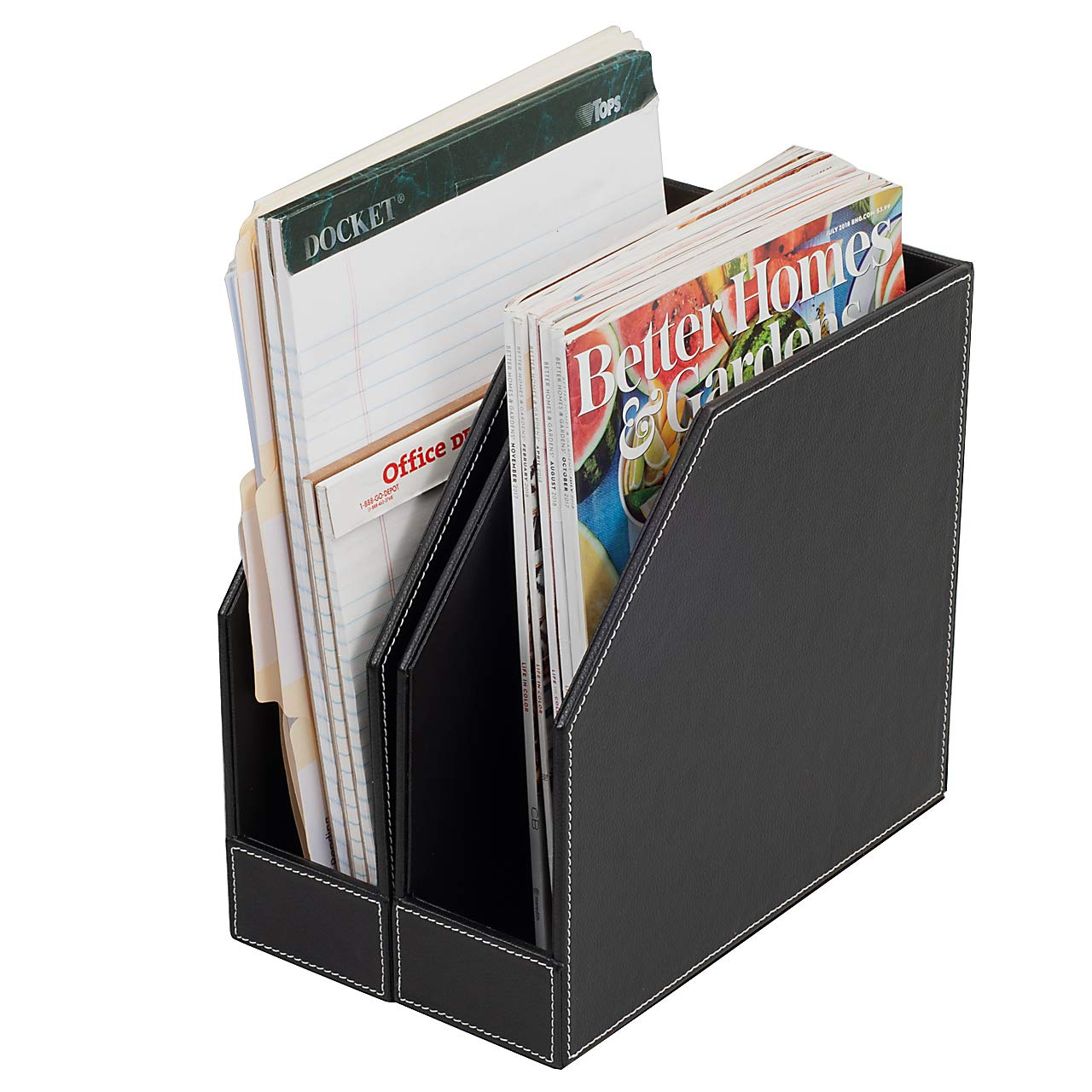 Executive PU Leather Vertical File Folder Holder & Office Product Organizer, Store Files, Magazines, Notepads, Books and More, 2 Pack Combo Set by MobileVision