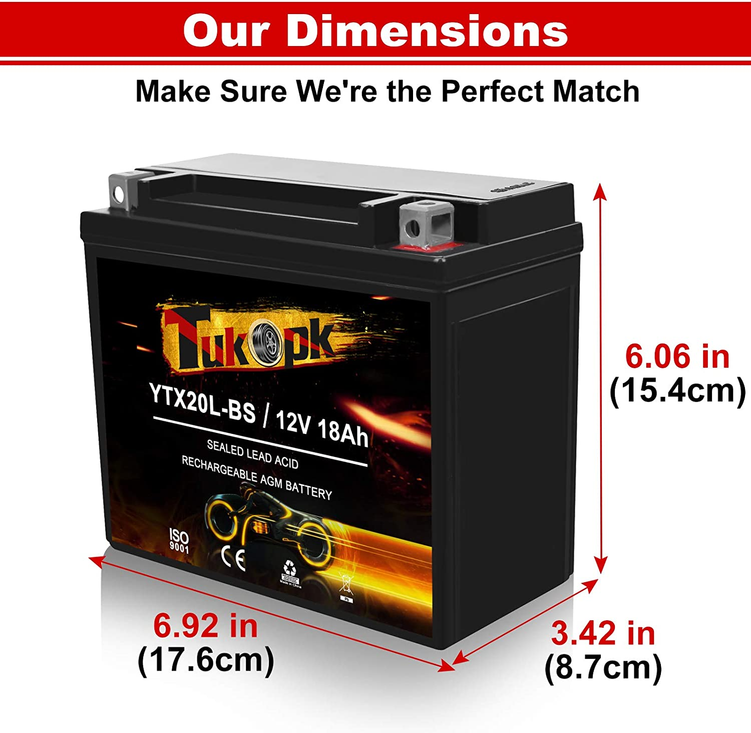 Automotive YTX20L-BS Motorcycle Battery 12V 18Ah 235CCA Sealed AGM ...