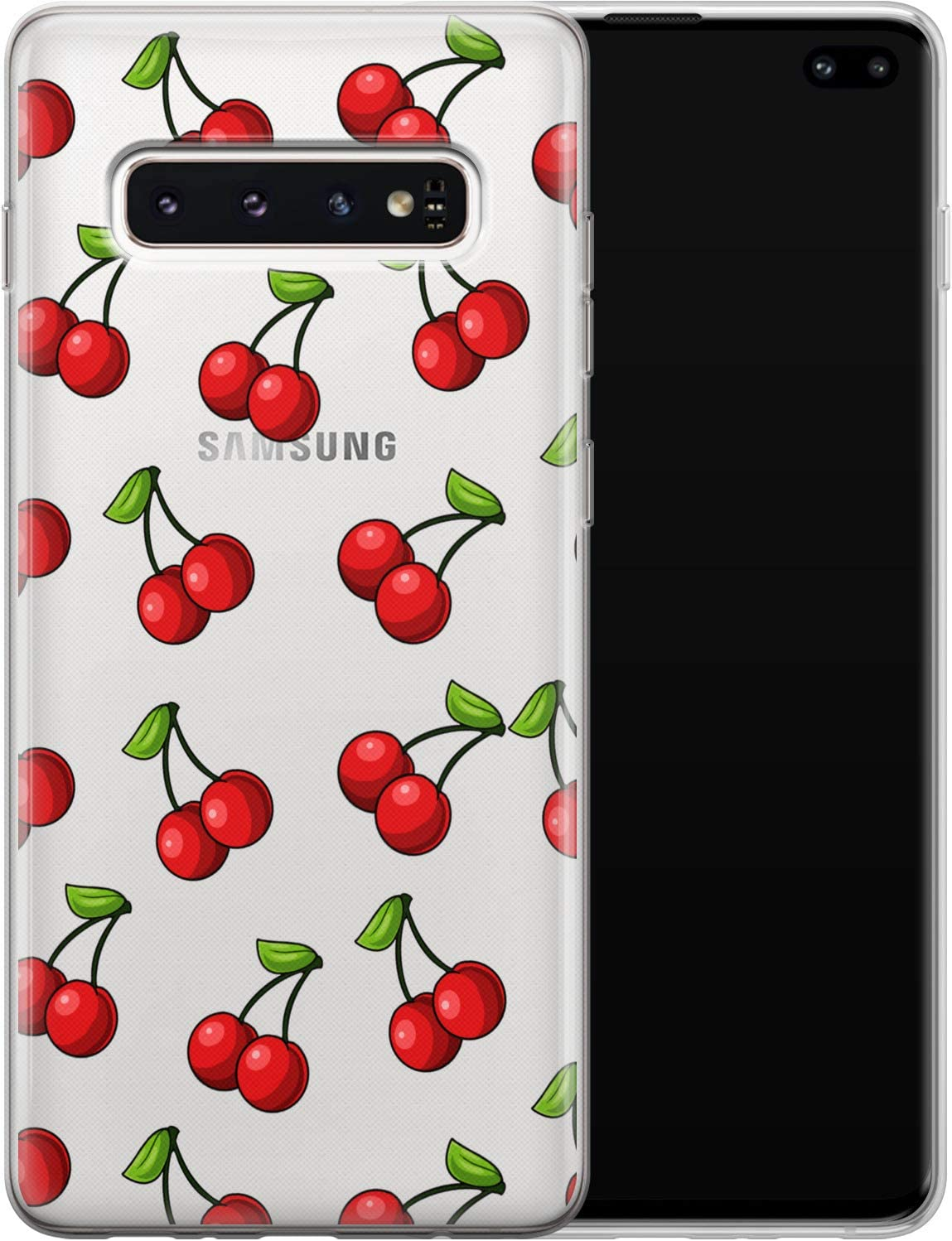 Vonna Phone Case Replacement for Samsung Galaxy S21 S20 Plus S10 Note 20 Ultra 5G S9 S8 Cherry Soft Red Lovely Tropic Food Art Fruit Summer Smooth Print Design Flexible Silicone Cover Cute Lux a056