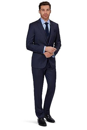 f4db90522b5 Lanificio F.lli Cerruti Dal 1881 Cloth Men`s Tailored Fit Indigo Semi Plain 3  Piece Suit 48R Blue: Amazon.co.uk: Clothing