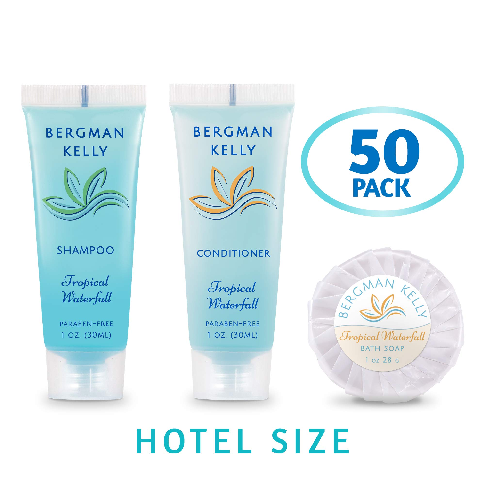 BERGMAN KELLY Round Soap Bars, Shampoo & Conditioner 3-Piece Set (1 oz each, 150 pcs, Tropical Waterfall), Delight Your Guests with Invigorating & Refreshing Bulk Travel Size Hotel Toiletries by BERGMAN KELLY