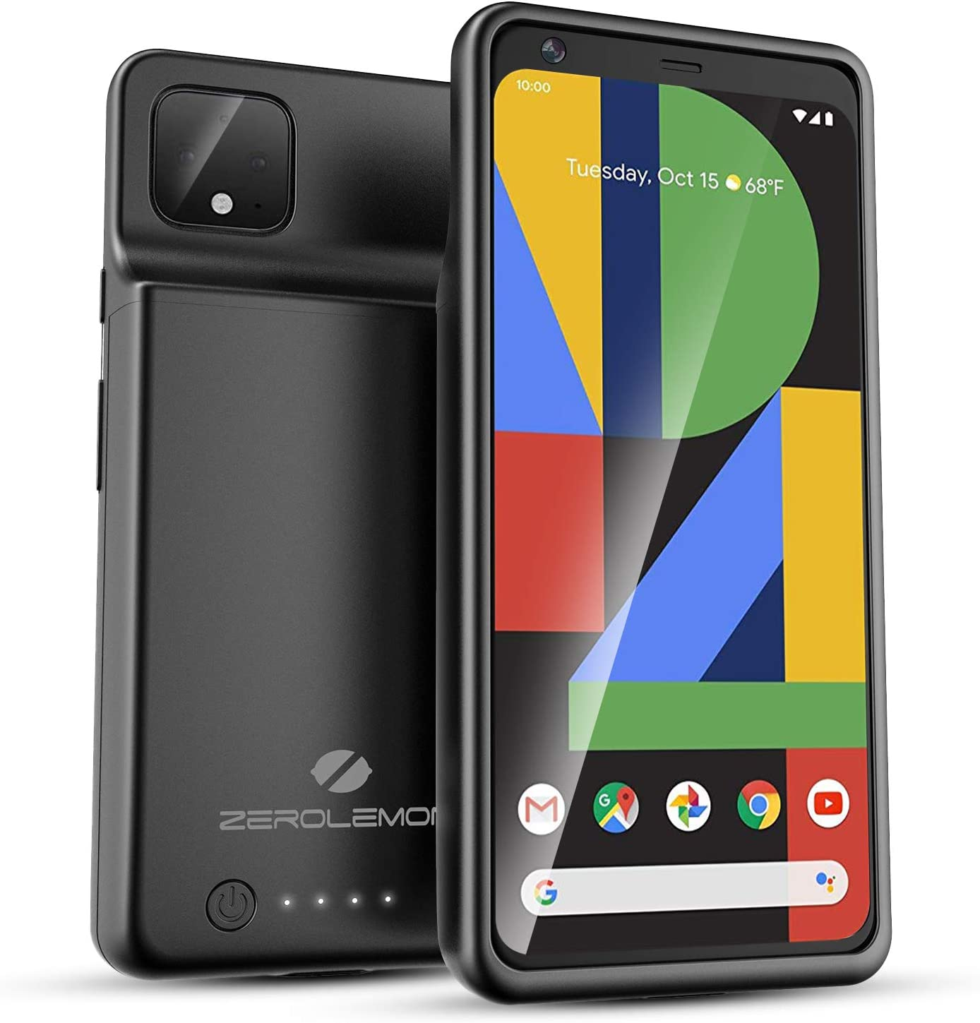 ZEROLEMON Google Pixel 4 Battery Case 9000mAh, Ultra Power Extended Rechargeable Battery Charging Case with Full Edge Protection for Pixel 4 - Black