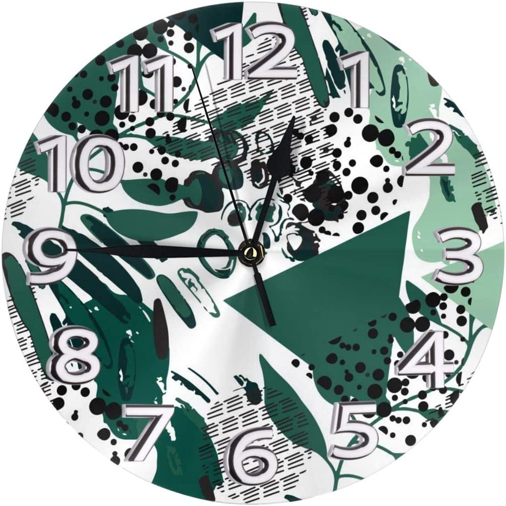 nobrand Memphis Abstract Print Wall Clock 10 Inch Battery Operated Non-Ticking Decorative Quiet Clock for Kitchen Home Office Wall Decor