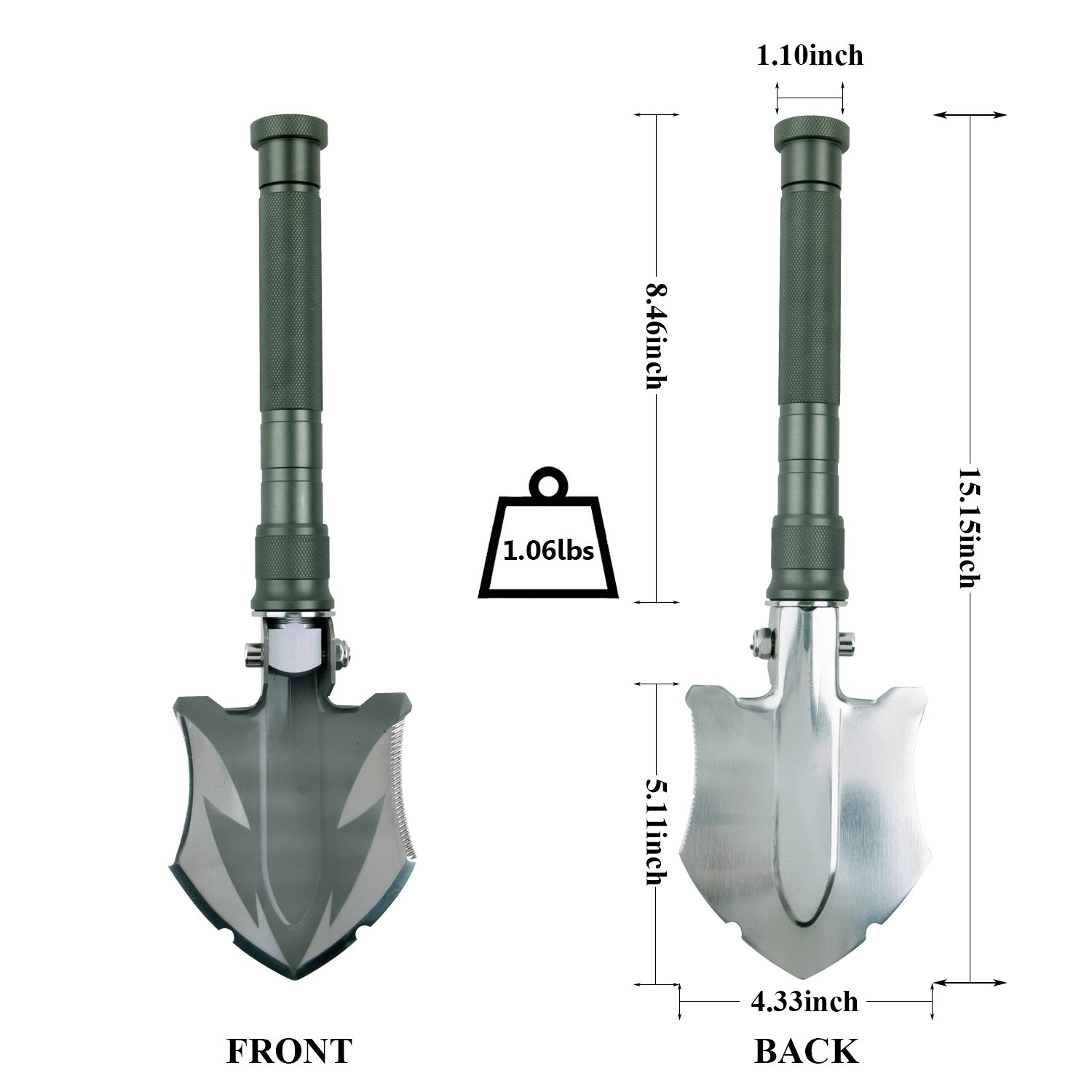 Glossday Military Folding Shovel Multitool,Portable Survival Shovels,Tactical Entrenching Tool,Heavy Duty Emergency Tool, Outdoor Gear Camping Backpacking,Fishing,Hiking (15inch) by Glossday (Image #3)
