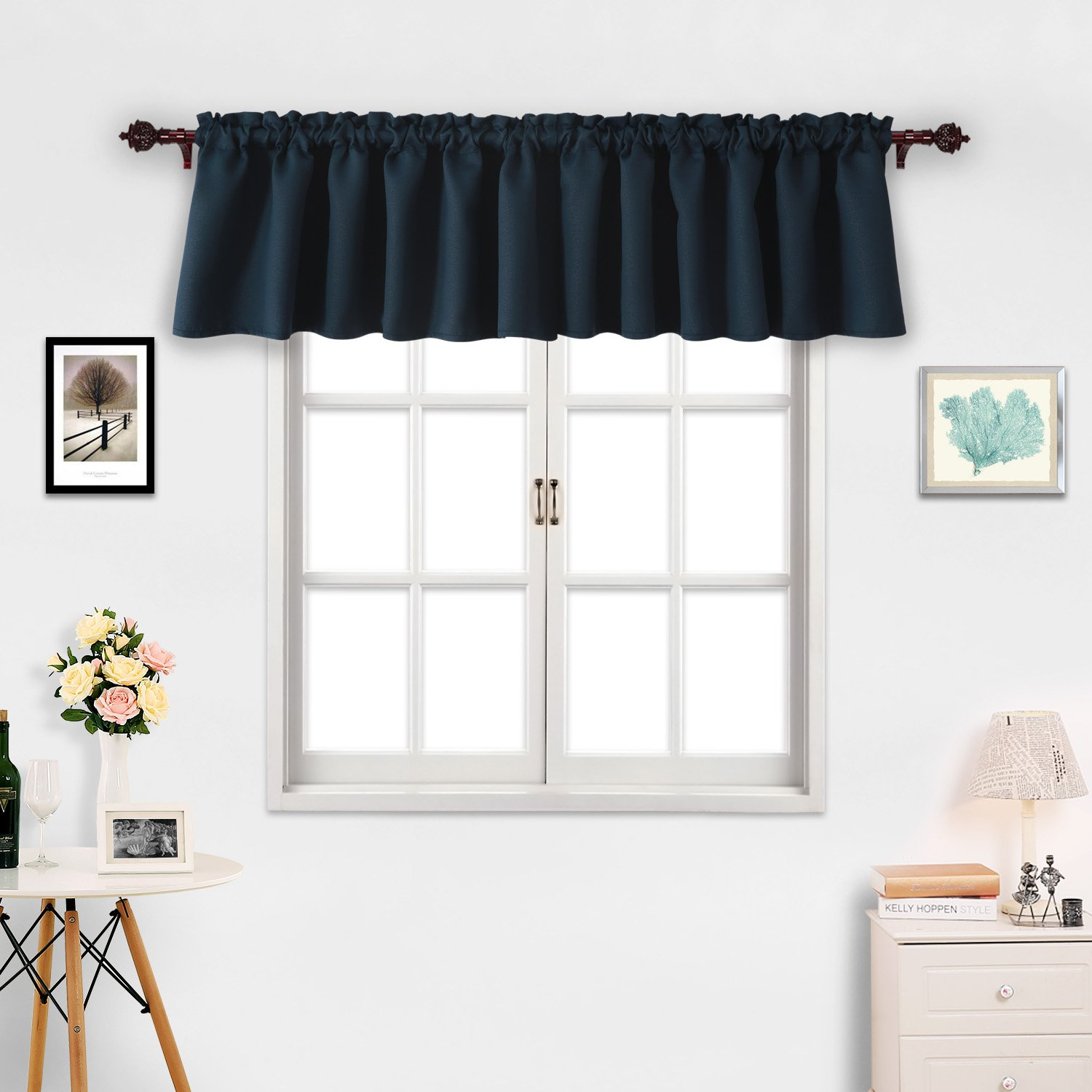Deconovo Window Valances Kitchen Valance Textured Embossed Blackout Valance Rod Pocket Curtain 52x18 Inch Star White 2 Panels