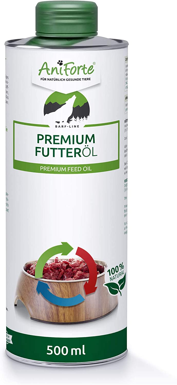 AniForte Premium Feed Oil 500ml para Perros- Aceite Premium prensado en frío, aditivo Ideal para diestas Barf, Aceite Base Natural