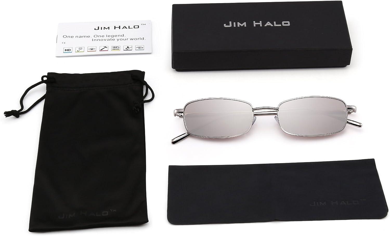 JIM HALO Mode Femmes Lunettes de Soleil Petit Lentilles Solaire Rectangulaire M/étal pour Hommes Unisexe