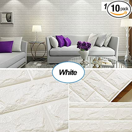 Masione 3d Self Adhesive Wallpaper Faux Foam Real Bricks Effect Wall Panels For Tv Walls Sofa Background Bedroom Kitchen Living Room Home Wall Decor