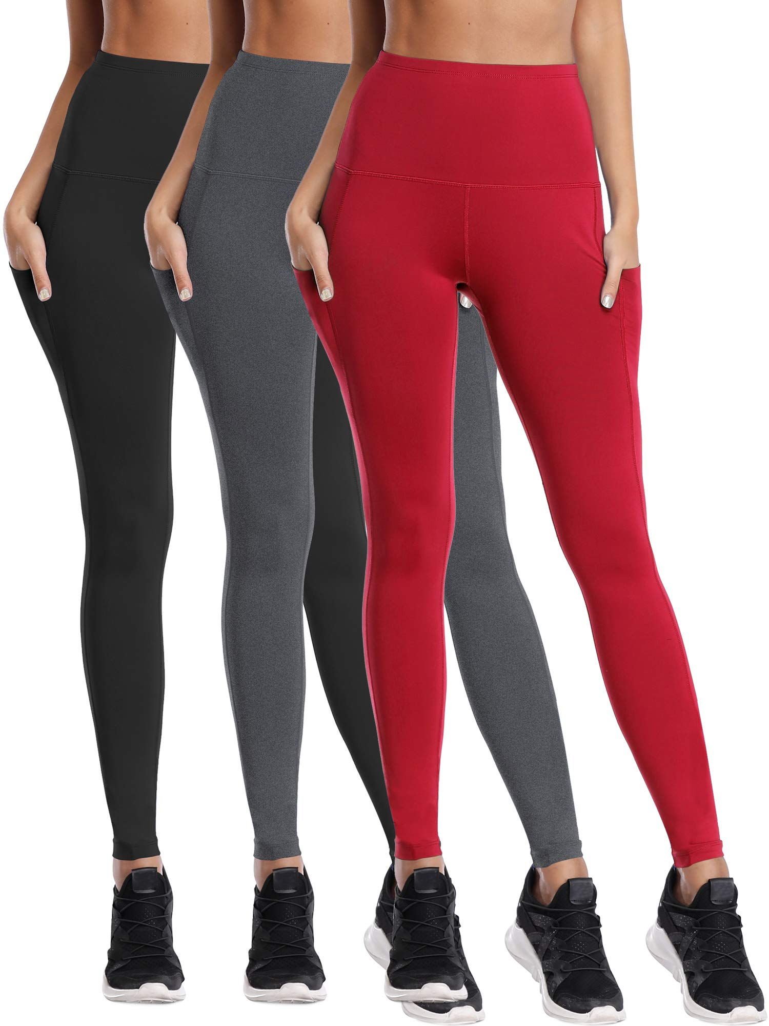 Cadmus Womens High Waist Leggings Tummy Control Running Workout Yoga Pants,1103,Black & Grey & Red,XX-Large by Cadmus