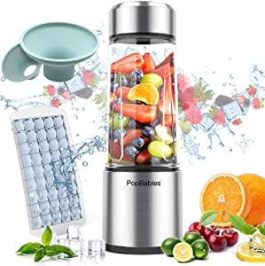 Portable Blender,PopBabies Personal Blender Smoothie Blender on the go, wireless USB Rechargeable Blender,Tritan Juicer Cup & 2 Pack Canning Funnel