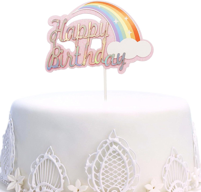 Brilliant Unicorn Happy Birthday Cake Topper Colorful Acrylic Unicron Funny Birthday Cards Online Barepcheapnameinfo