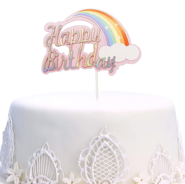 Amazon Happy Birthday Cake Topper Rainbow Twinkle DIY Glitter First Cupcake Smash Candle Alternative Party Handmade Pink