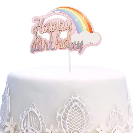 Image Unavailable Not Available For Color Happy Birthday Cake Topper Rainbow