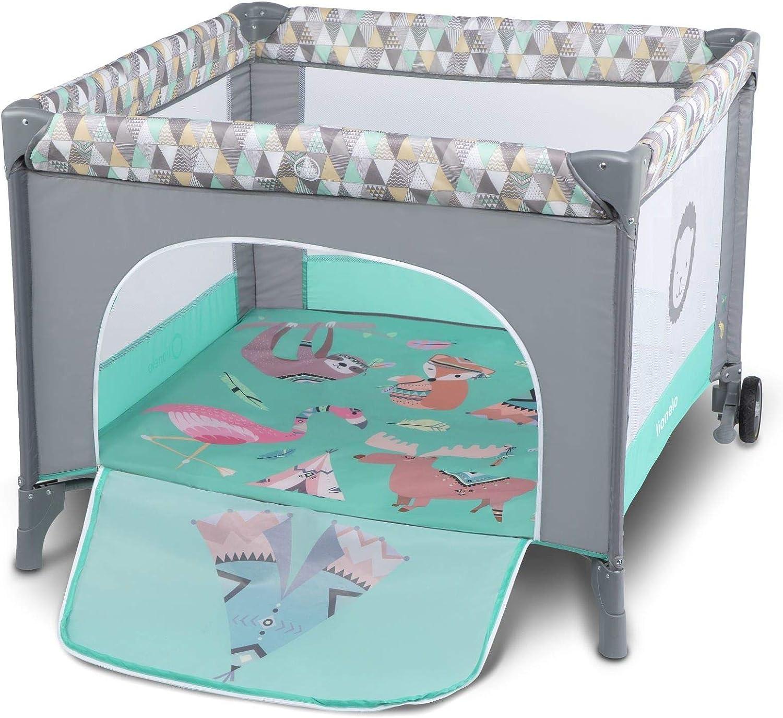 Lionelo Sofie Parque para bebés De viaje 100 x 100 x 76 cm Para niños de hasta 15 kg Perfecto en casa y de vacaciones Sistema de plegado seguro Bolsa incluida Gris y turquesa