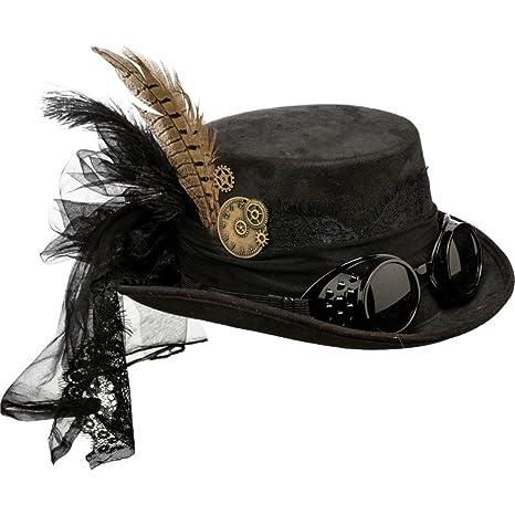 NET TOYS Sombrero Steampunk Sombrero de Copa gótico marrón Gorro Victoriano Complemento retrofuturista Look Retro Sombrero Accesorio Disfraz Punk: ...