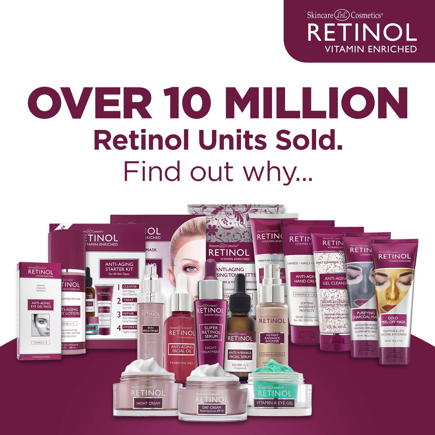 Retinol Anti-Wrinkle Facial Serum - Vitamin A Concentrate Improves Skin's Elasticity & Tone and Minimizes Appearance of Fine Lines & Wrinkles - Look Younger With The Age-Defying Power Of Retinol by Retinol