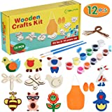 YISUYA DIY Kids Wooden Craft Kit, 12pcs Wood Ornaments Creativity Arts & Crafts Painting Kit Decorate Your Own for Kids Paint Birthday, with Glitter Glue, Brushes, Apron, Cuffs