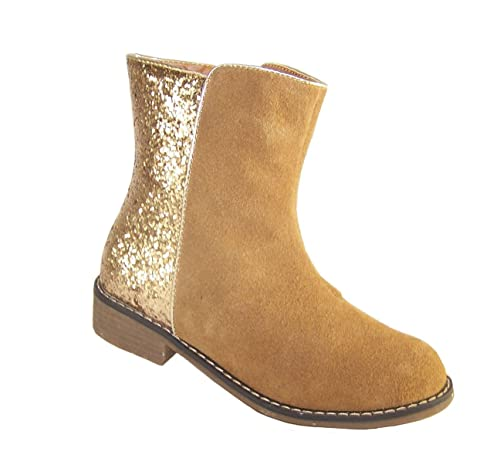 Niña ante auténtico tostado y purpurina dorada botines