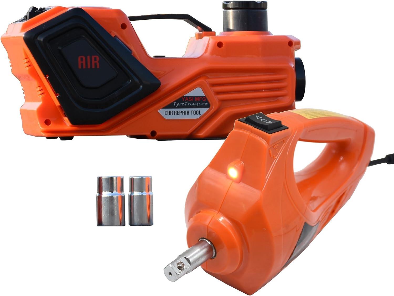 YASI MFG 5Ton - Kit de Elevador hidráulico Eléctrico de Jack DE 15,5-45 cm + Kit de Llaves de Impacto Eléctricas para Reparación de Coche 12 V