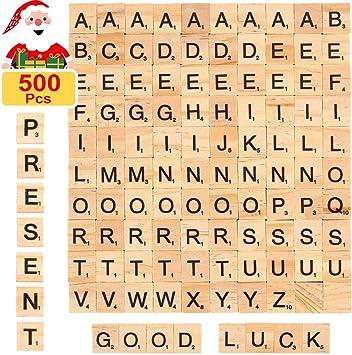 JoGoi 500PCS Letras Scrabble de Madera Alfabeto A a Z para Manualidades DIY Decoración educación Infantil Palabras en inglés para niños Juegos Azulejos Scrabble: Amazon.es: Juguetes y juegos