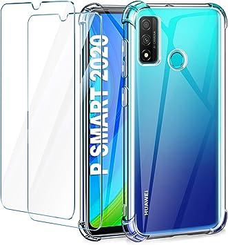 Leathlux Funda Huawei P Smart 2020 + 2 Pack Cristal Templado Protector de Pantalla, Ultra Fina Silicona Transparente TPU Carcasa Anti-Choque Anti-arañazos Carcasa Huawei P Smart 2020 6.21